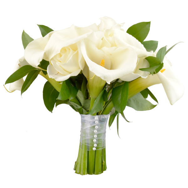 White calla lilies, roses, hydrangeas and wild smilax. Toni's Flowers and Gifts, Tulsa.