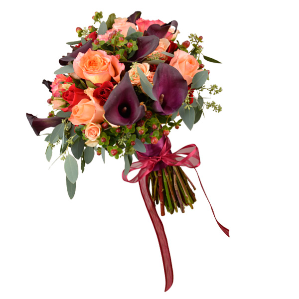 Garden bouquet with eggplant callas, garden roses, berries and seeded eucalyptus. Flowergirls Weddings, Tulsa.