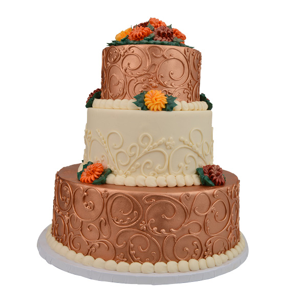 Fall-inspired metallic cake, Merritt's Bakery, Tulsa.