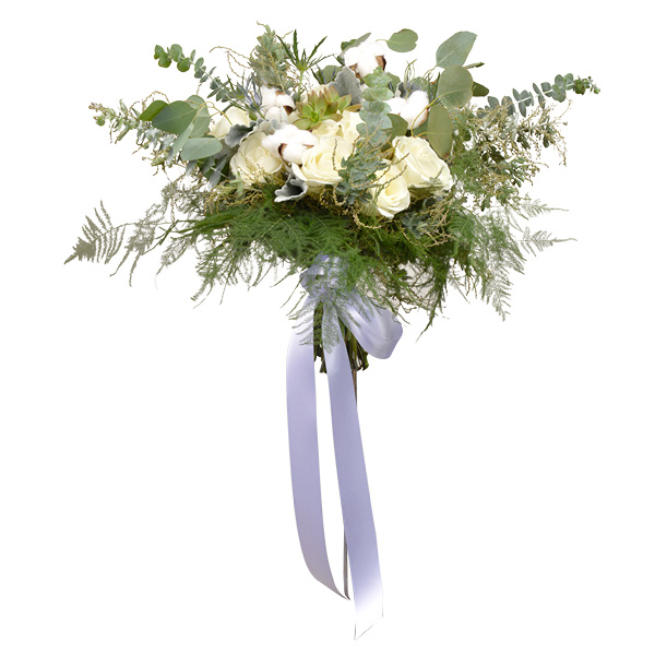 Summer bouquet of white garden roses, succulents and cotton balls with ferns, seeded eucalyptus, acacia and dusty miller. Wild Iris, Tulsa