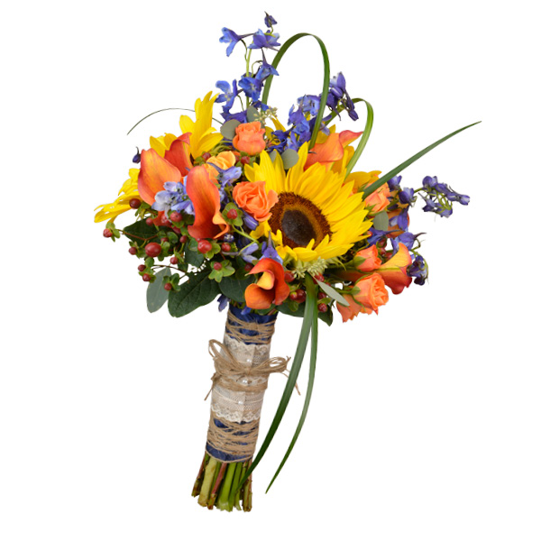 Indian summer bouquet with mango calla lilies, delphinium, berries, spray roses and sunflowers. Flowergirls Weddings, Tulsa.