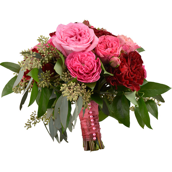 Pink and red garden roses, seeded eucalyptus and wild smilax. Toni's Flowers and Gifts, Tulsa.