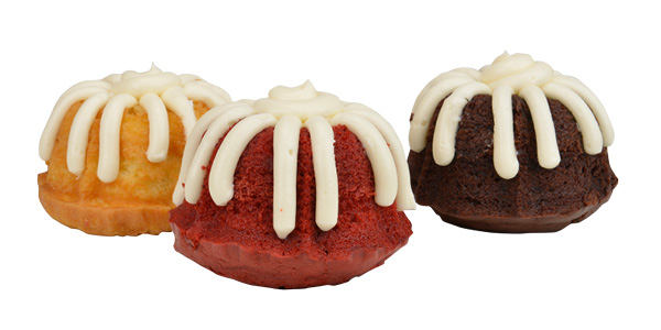 Bundtlets in white chocolate raspberry, red velvet, and chocolate chocolate chip flavors, Nothing Bundt Cake, Tulsa.