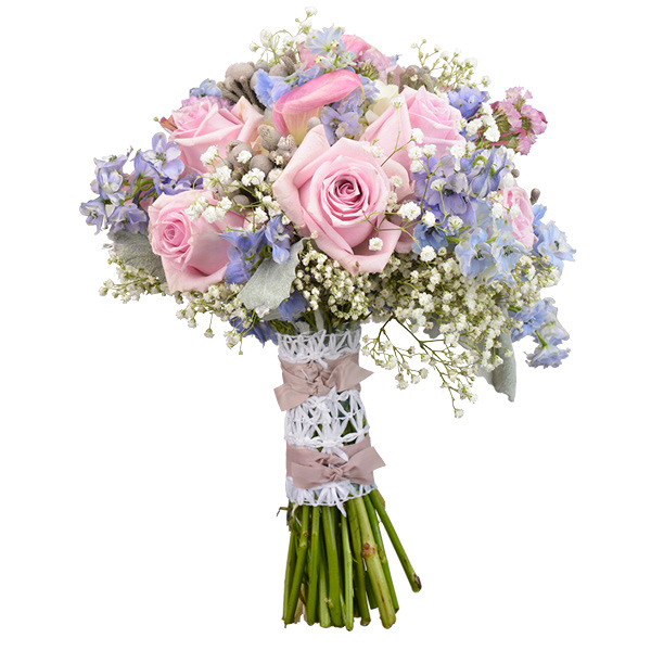 Romantic bouquet of ice blue delphenium, baby's breath, mauve calla lilies and roses with accents of gray dust; Mary Murray's Flowers, Tulsa.