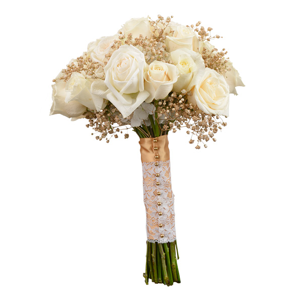 Elegant bouquet with garden roses, vendela roses and gold baby's breath; Flowergirls Weddings, Tulsa.