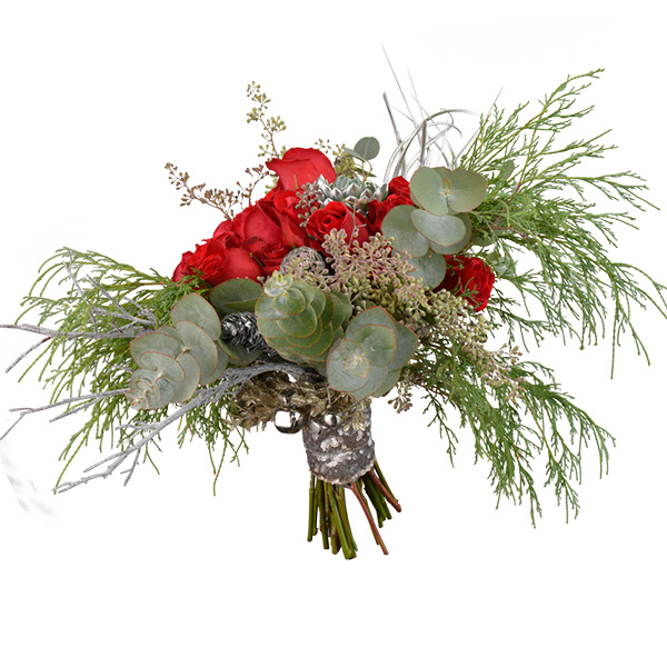 Christmas bride bouquet with freedom roses, succulents, air plants, pine cones, Christmas greens and succulents; Ted and Debbie's Flower and Garden. Tulsa.
