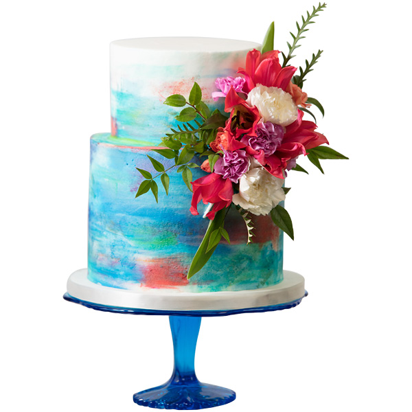 Floral painted cake. Amy Cakes, Norman. Photo by Brent Fuchs