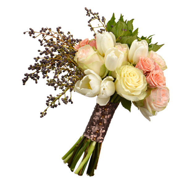 Fall bouquet with spray and garden roses, hydrangeas and privet. Stage Door Flowers, Tulsa