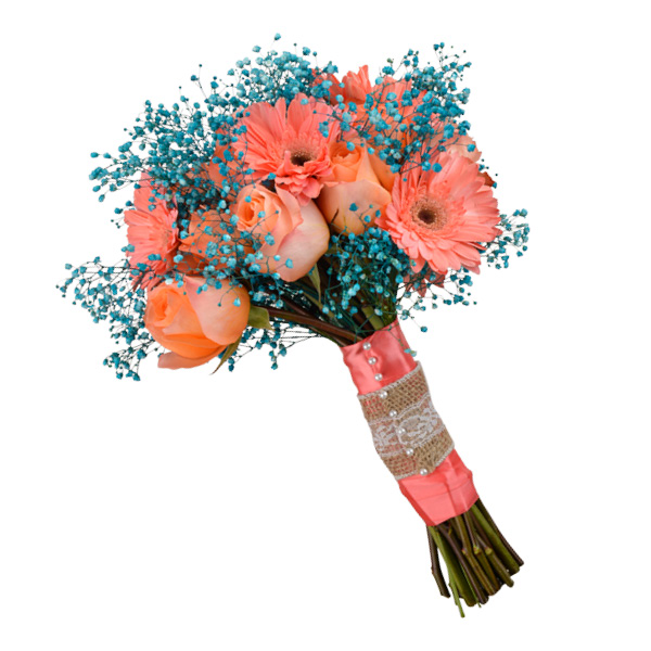 Rustic country bouquet with coral gerbera daisies, coral wreath roses and teal baby's breath. Flowergirls Weddings, Tulsa