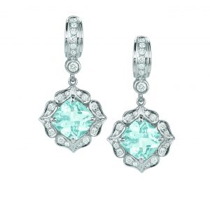 Charles Krypell 18KWG Diamond Aqua Earrings, $6,800, Bruce G. Weber Precious Jewels