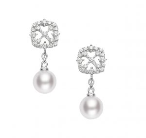 Mikimoto Akoya pearl and diamond earrings, $3,330, Bruce G. Weber Precious Jewels