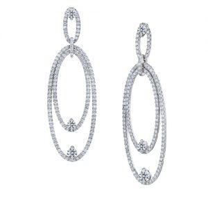 Forevermark 18KWG diamond dangle earrings, $6,900, Bruce G. Weber Precious Jewels