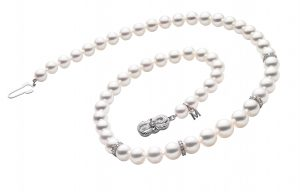 Mikimoto pearl and diamond necklace, $7,320, Bruce G. Weber Precious Jewels