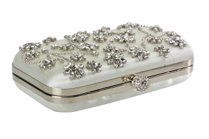 Crystal floral clutch, $59.99, David's Bridal